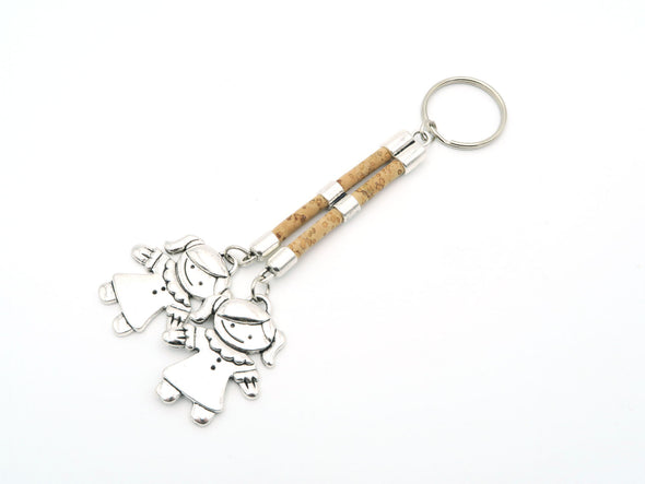 MB Cork Portuguese cork keychain, natural cork, boy and girl keychain. original, handmade, environment friendly materials   I-002