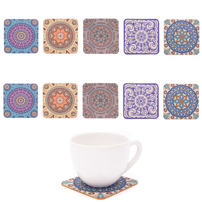 10PCS 9.5CM*9.5CM Square Cork cup coaster with traditional portuguese parrten L-054