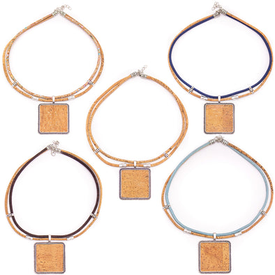 Square Natural Cork Handmade necklace colar women original wooden jewelry N-136