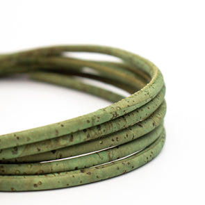 5mm round green cork cord COR-334(10 meters)