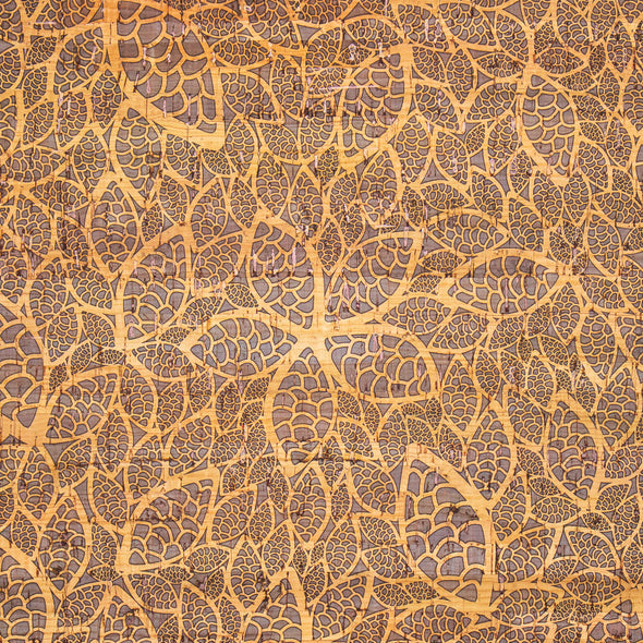 Portuguese Cork Fabric Leaves and flowers pattern COF-256