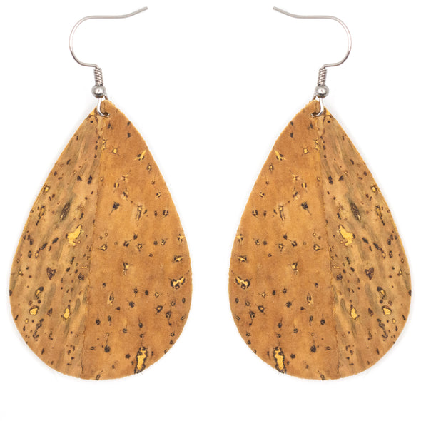 Natural softwood fabric handmade ladies earrings, stylish jewelry for women cork earring ER-074-A