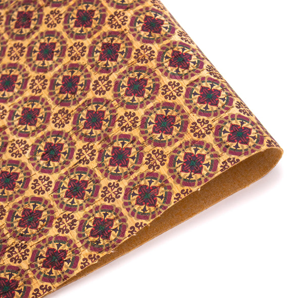 Warmed toned Tiles pattern Cork Fabric COF-234