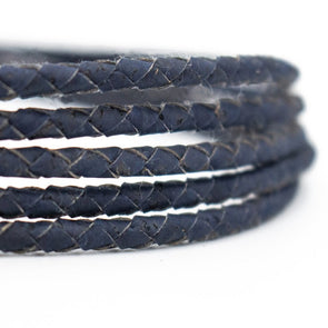 4mm Dark Blue Braided Cork Cord COR-380(5meters)