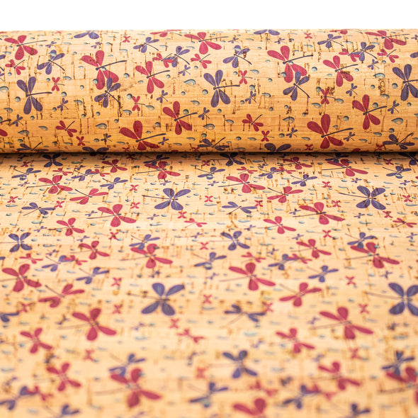 Cork fabric small dragonfly pattern COF-280