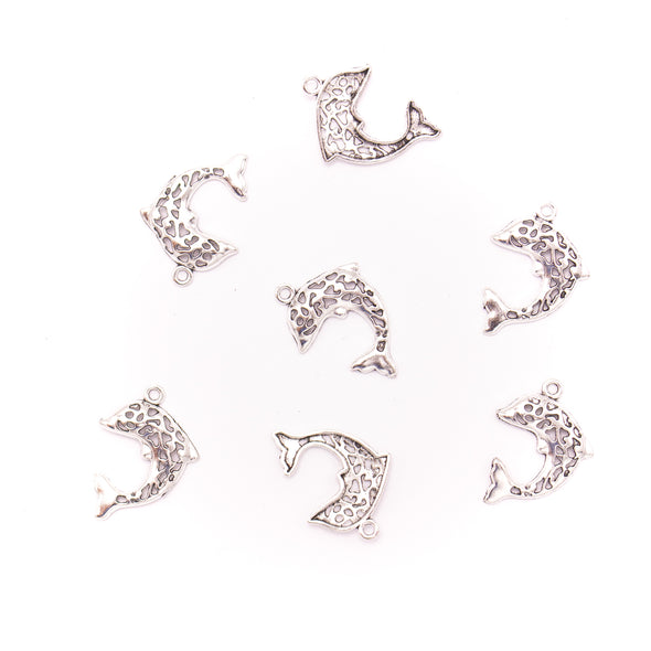 20 units 19x27mm Pendant antique silver Dolphins jewelry pendant Jewelry Findings & Components D-3-432