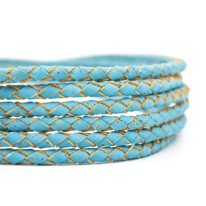 4mm Sky Blue Braided Cork Cord COR-381(5meters)