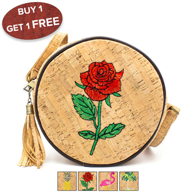 HOT! Promotion products-Buy  and get another one free Embroidered Round Structured women Handbag BAG-405