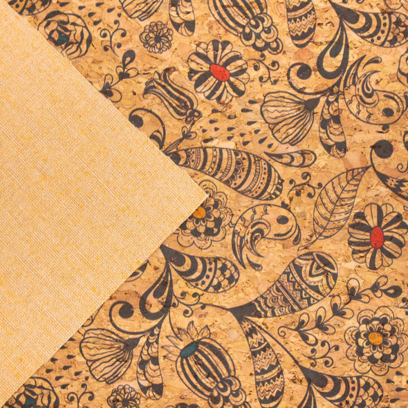 Flower and Leaves pattern cork fabric COF-309