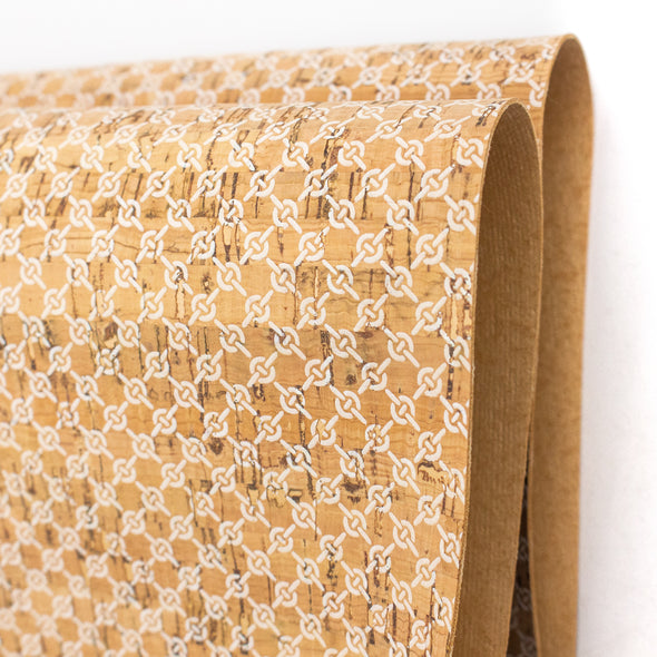 White weaving pattern Cork fabric COF-179
