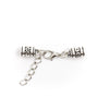 10Pcs for 5mm round leather ends, lobster with chain clasp , antique silver, jewelry supplies jewelry finding D-6-40-A