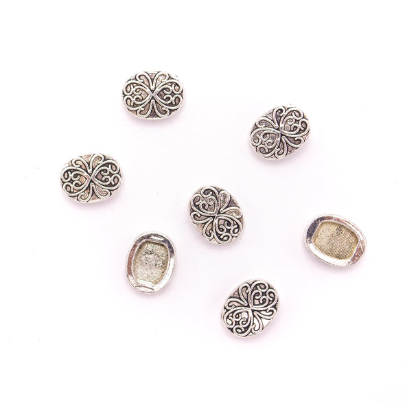 10 Pcs For 10mm flat leather,Antique oval Silver bracelet accessories jewelry supplies jewelry finding D-1-10-238