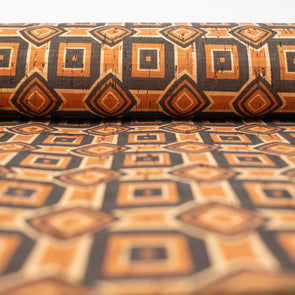 Natural cork Fabric patterned with ethnic orange and brown designs COF-203