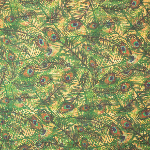 Peacock feather pattern Cork Fabric COF-254