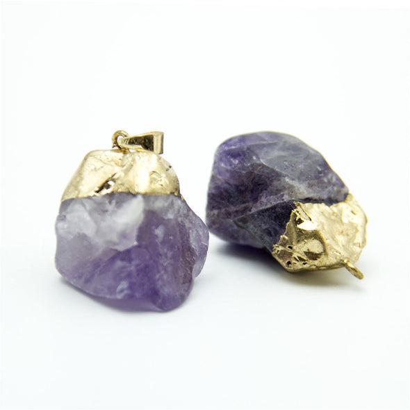1pcs purple gold natural stone crystal irregular shape pendant 26x16mm jewellery jewelry finding D-3-346-L