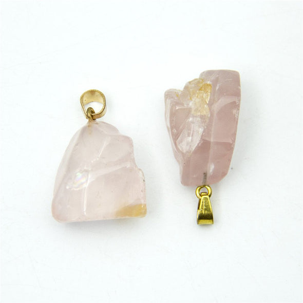 1pcs pink gold natural stone crystal irregular shape Pendant 35x18mm jewellery jewelry finding D-3-346-I