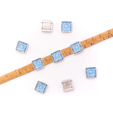 10units For 10mm flat cord slider with square Portuguese tiles for bracelet finding(14mm*14mm) D-1-10-224