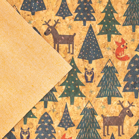 Christmas pattern tree, fox, elk and owl natural cork fabric COF-324