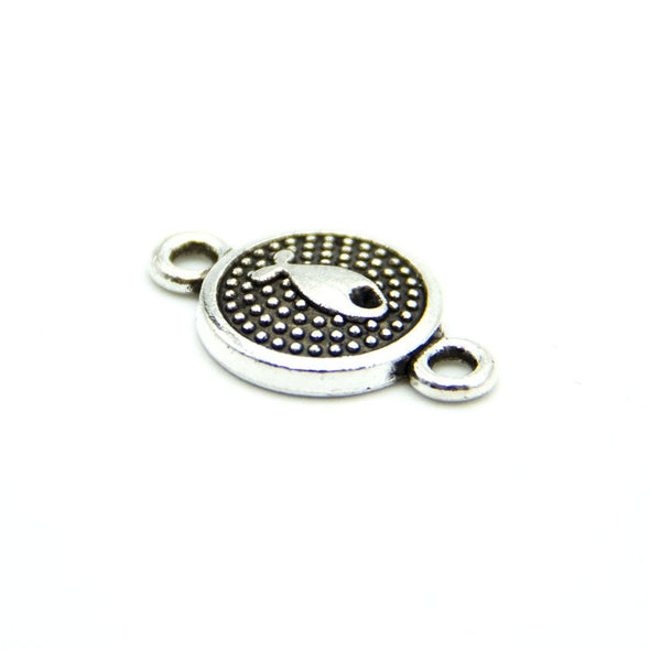 30 units Pendant antique sliver round fish connector charms Pendants Jewelry Findings & Components D-3-339