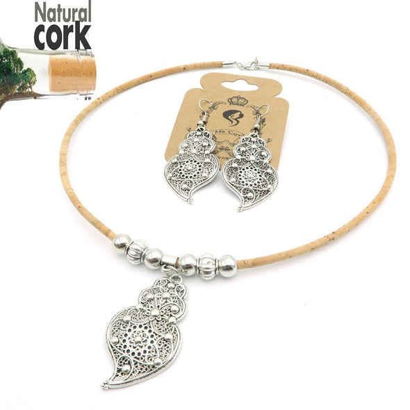 Cork jewelry cork necklace for women Natural color, cork set, handmade with Viana Heart, for women Jewelry Sets SET-019