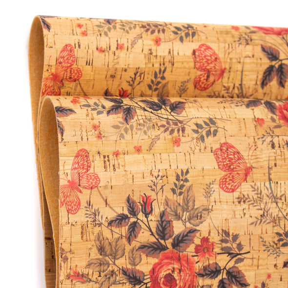Red flowers and butterflies pattern cork leather fabric COF-263