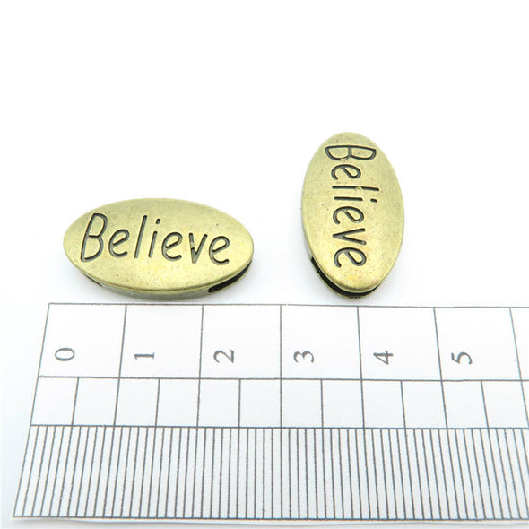 10 Pcs For 10mm flat leather,Antique brass 'Believe' bead jewelry supplies jewelry finding D-1-10-18
