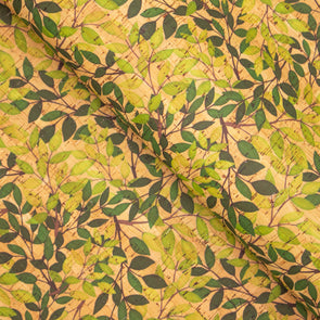 Green vine Leaves pattern cork leather fabric COF-261