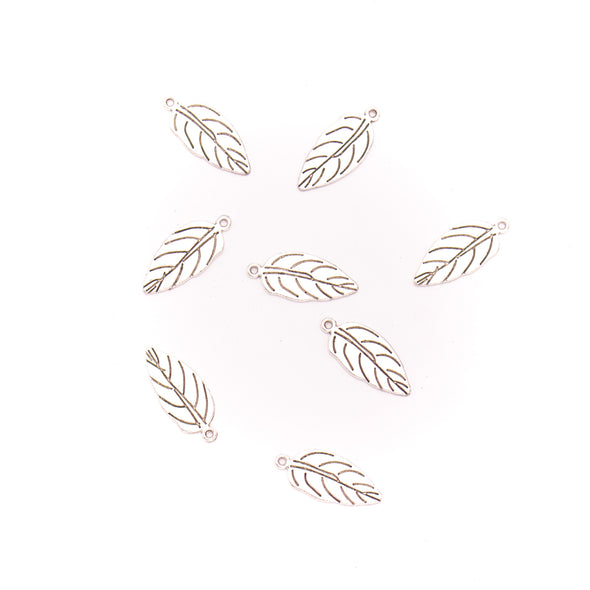 10 units 12x29mm Pendant antique silver Feather jewelry pendant Jewelry Findings & Components D-3-411