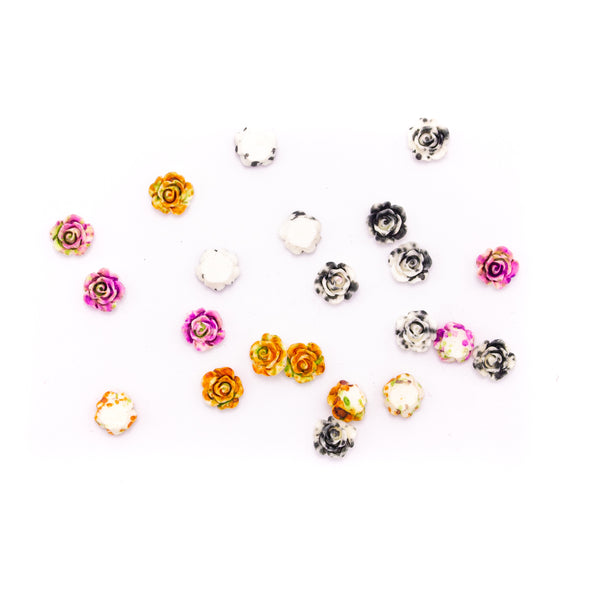 30pcs 9.5mm Colored resin small flowers for jewelry handmade jewelry supplies jewelry finding D-3-451