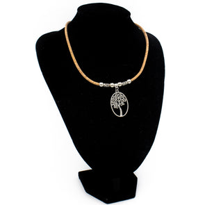 Natural Cork made Tree of life women's necklace N-98