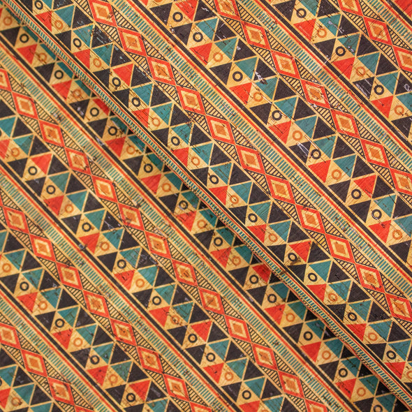 Colourful geometrical shapes pattern Cork Fabric COF-249