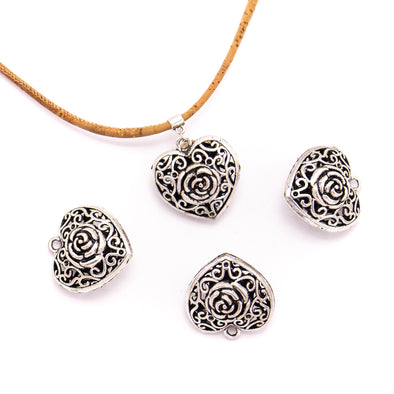 5 units 33x34mm Pendant antique silver Heart with Rose jewelry pendant Jewelry Findings & Components D-3-430