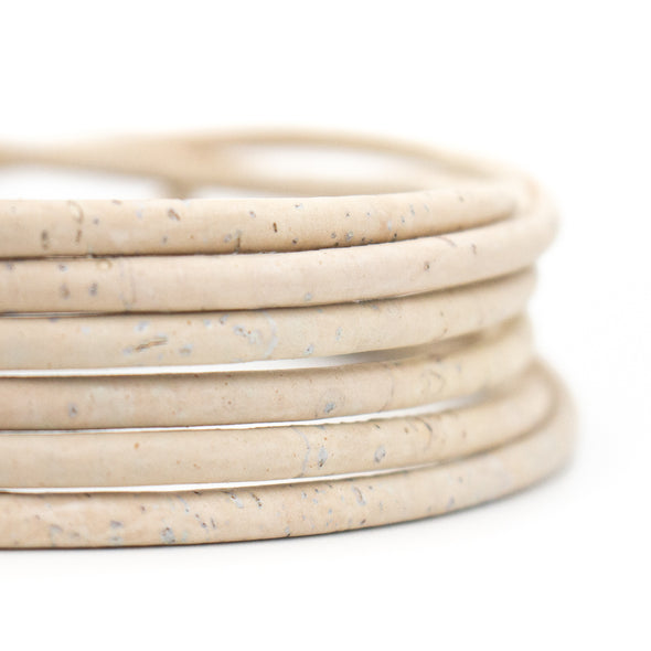 White cork cord Natural cork 5mm round Portuguese cork wholesale jewelry supplies /Findings Cor-165