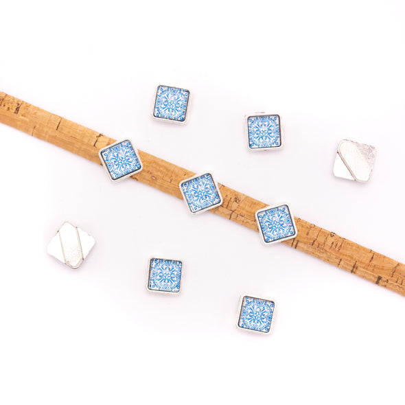 10units For 10mm flat cord slider with square Portuguese tiles for bracelet finding(12mm*12mm) D-1-10-222