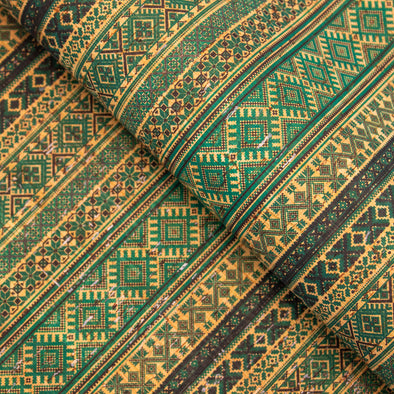 Geometric Pattern With Ethnic Motifs Cork Fabric COF-239