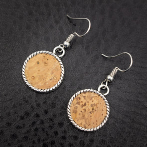 Natural cork antique sliver cork Sticks earrings handmade women earrings lady original dangle wooden jewelry ER-025-A