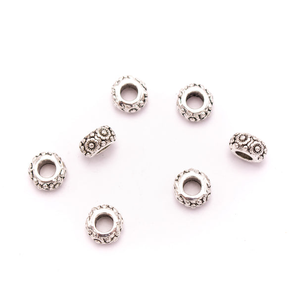 20PCS For 5mm leather antique silver zamak round beads, Jewelry supply Findings Components- D-5-5-149