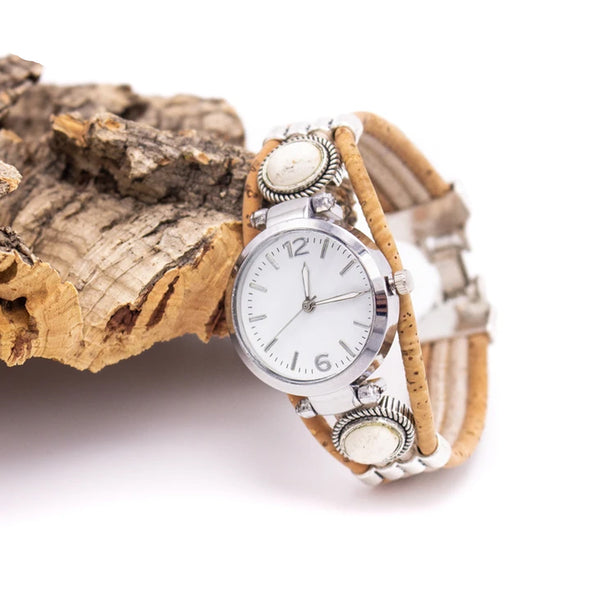 Cork  watches with pretty beads  WA-95-MIX