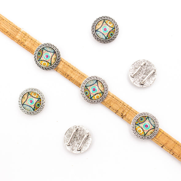 10units For 10mm flat cord slider with Portuguese tiles for bracelet finding(20mm) D-1-10-212