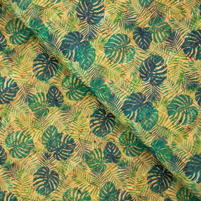 Palm and Areca Palm leafs pattern Cork Fabric COF-244