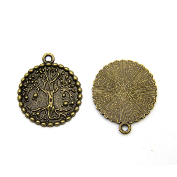 5 units antique brass life of tree finding jewelry finding suppliers D-3-265
