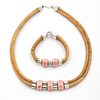Natural Cork Pink porcelain beads set women cork jewelry set Handmade jewelry set SET-072-B