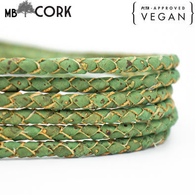 4mm Round Green Braided Cork Cord COR-377
