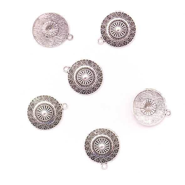 10Pcs 21mm Antique Silver round flower pendant jewelry supplies jewelry finding D-3-442