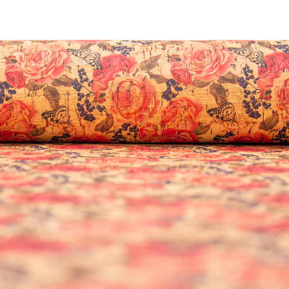 Red big rose pattern cork leather fabric COF-264