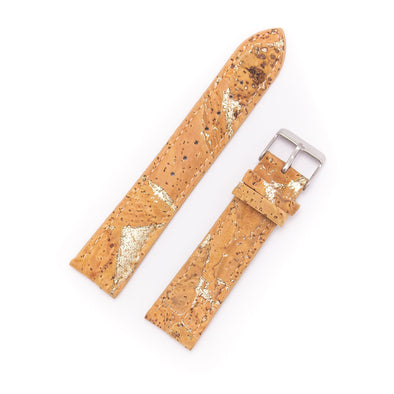Cork watch strap natural with gold 18mm 20mm E-013