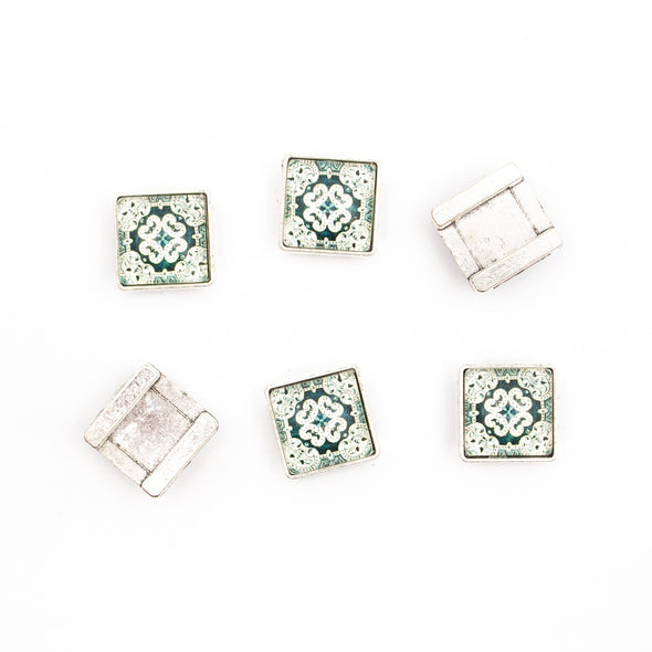 10units For 10mm flat cord slider with Square Portuguese tiles for bracelet finding(17mm*17mm) D-1-10-219