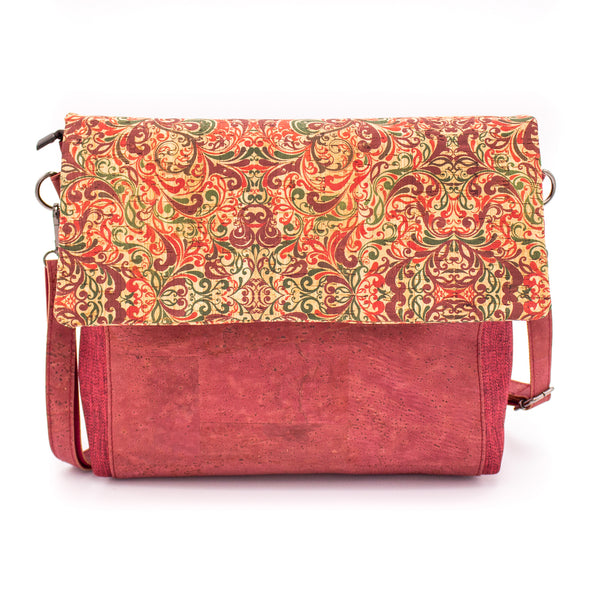 Shoulder bag  pattern cotton and cork  crossbody women handmade bag BAG49-05