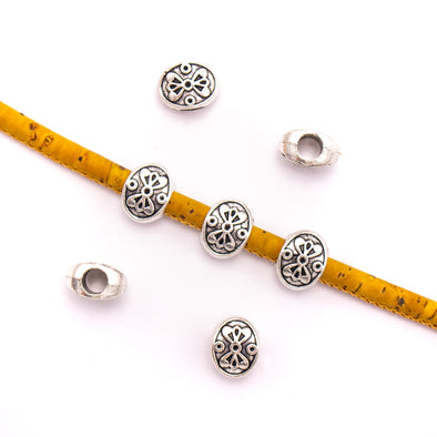 20PCS For 5mm leather antique silver zamak 5mm oval beads Jewelry supply Findings Components- D-5-5-162