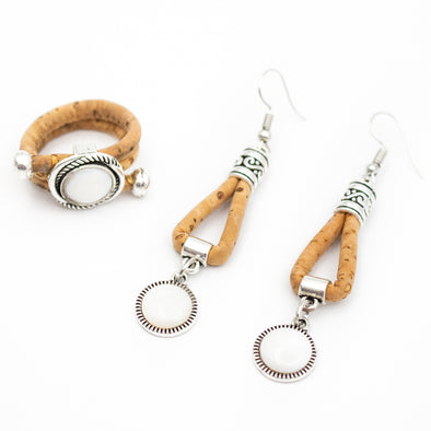 Cork jewelry set ring and earrings with natural shell original from PORTUGAL wooden jewelry SET-073